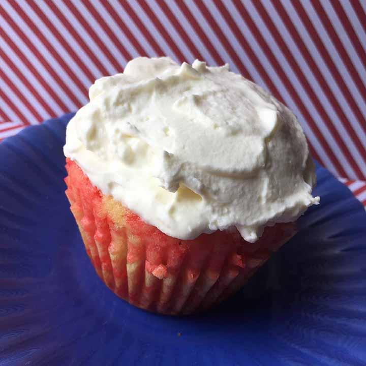 Low Carb Keto Strawberry Poke Cupcake