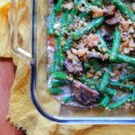 a top down view of a low carb Keto green bean casserole