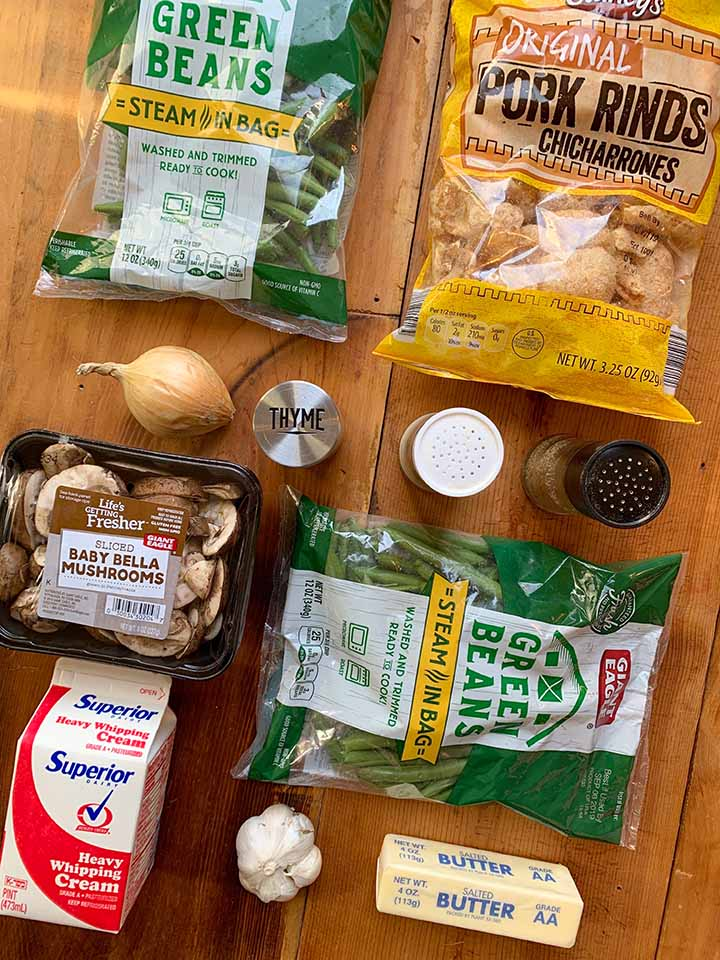 Ingredients for Low Carb Green Bean Casserole