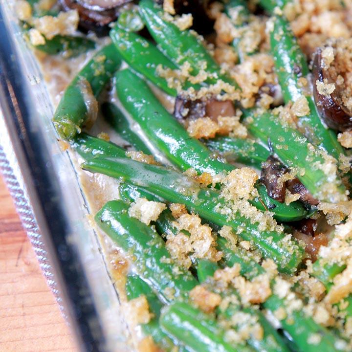 A close up view of a Keto green bean casserole
