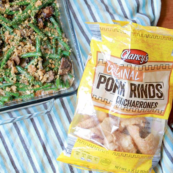 A bag of pork rinds like to a gluten free green bean casserole