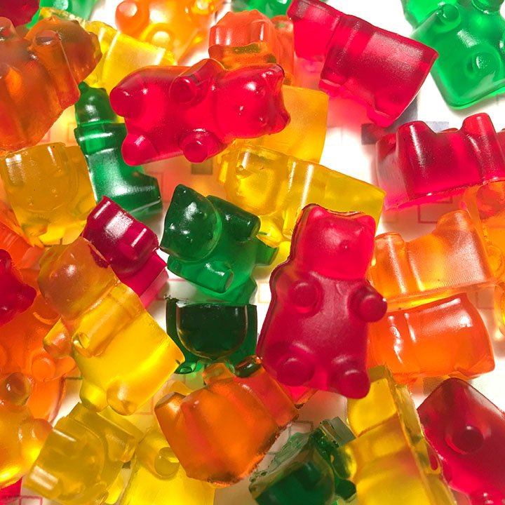 a close up of a pile of sugar free gummies