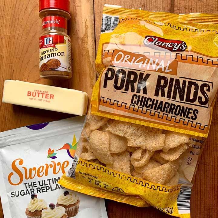 the ingredients of sweet cinnamon pork rinds
