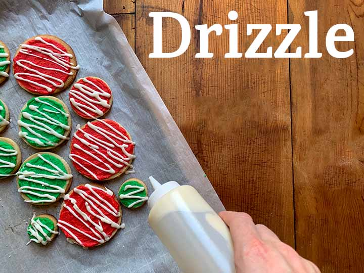 step 12 drizzle white frosting over the cookies