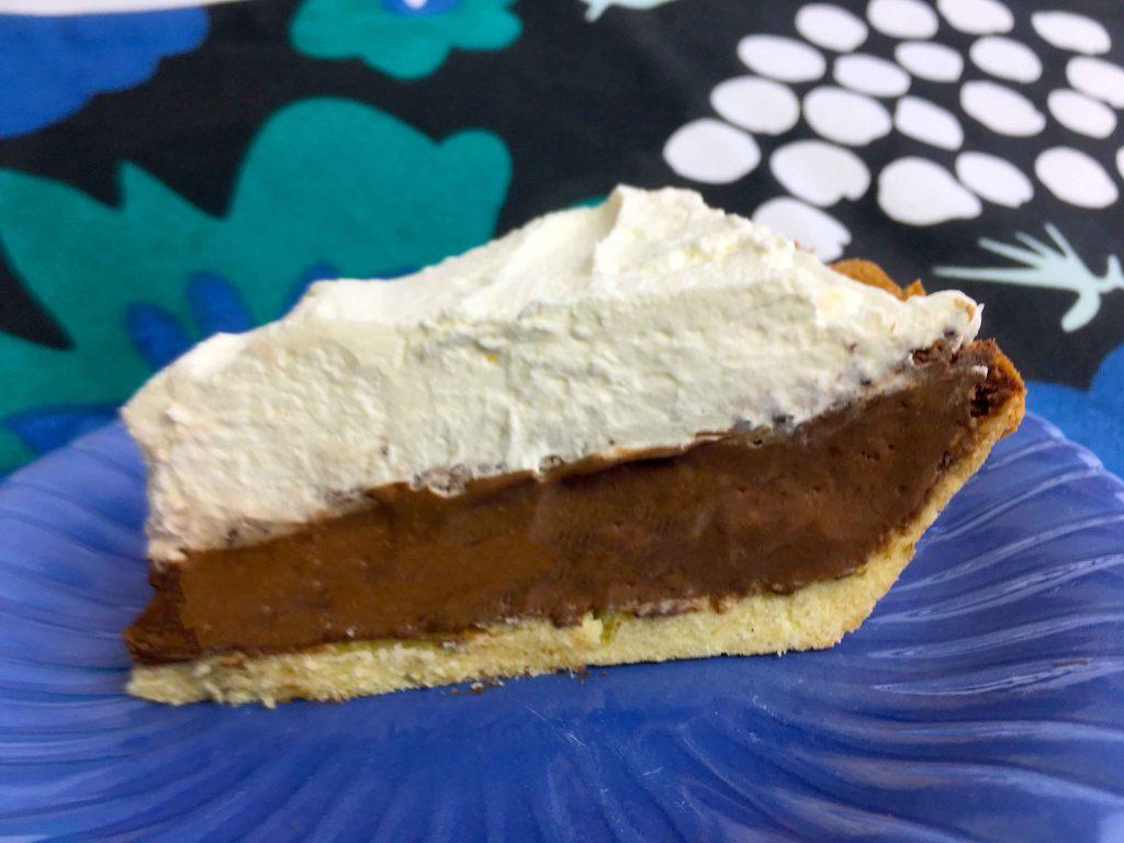 a slice of Keto Chocolate Cream Pie