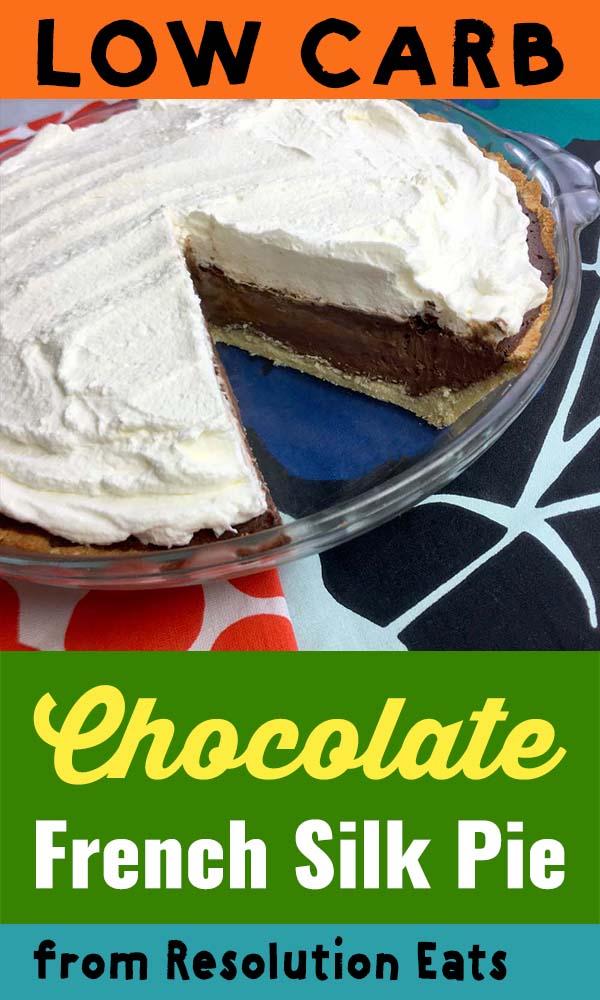 a Pinterest pin for Keto Chocolate Cream Pie