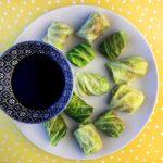 a plate of Keto Cabbage Wrapped Pork Dumplings