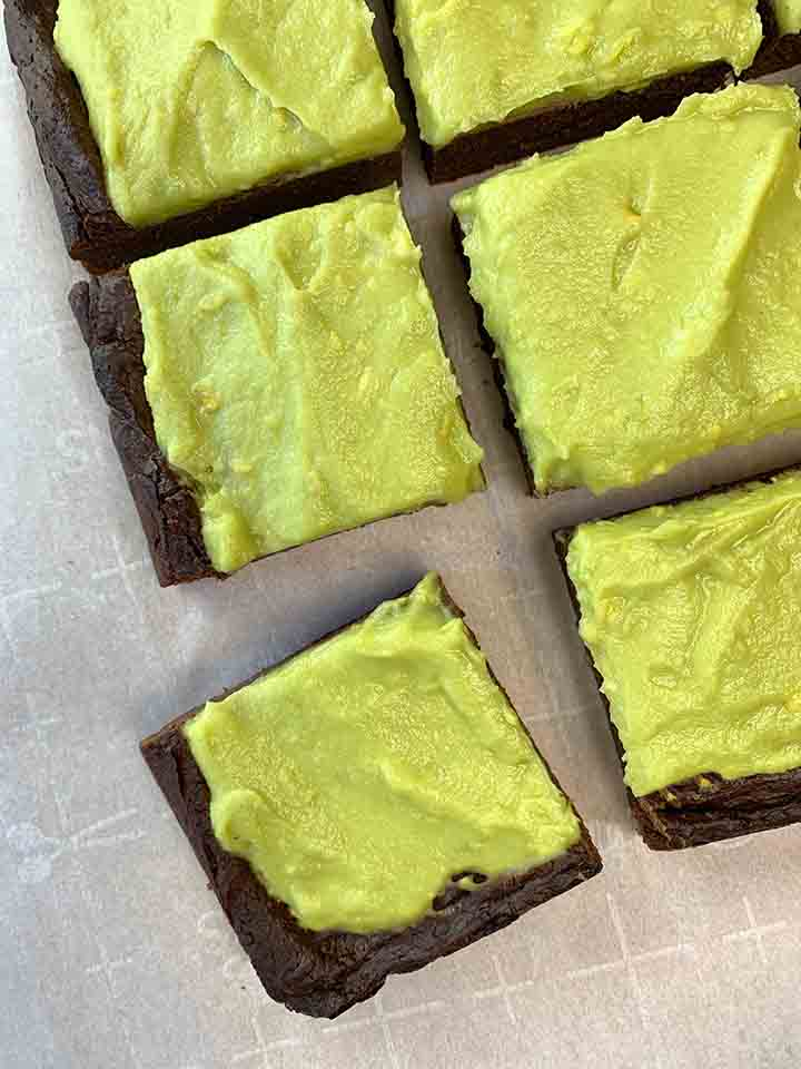 a top down view of a batch of fudgy avocado brownies