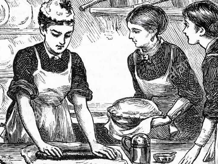an old etching from the 1800's of women cooking in a kitchen