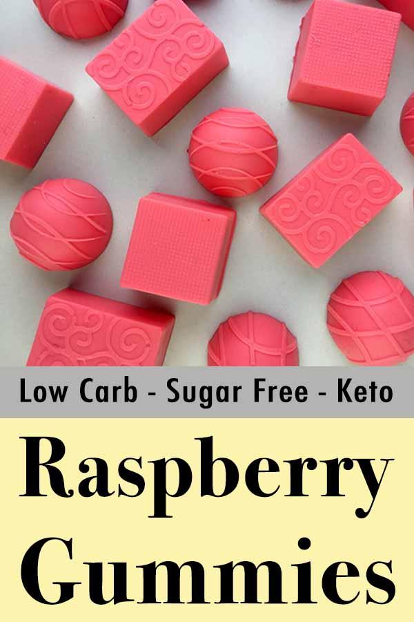 Low Carb Keto Raspberry Jello Gummies Pinterest Pin