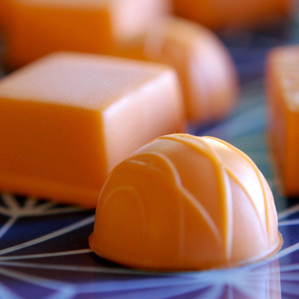 a close up on some orange gummies