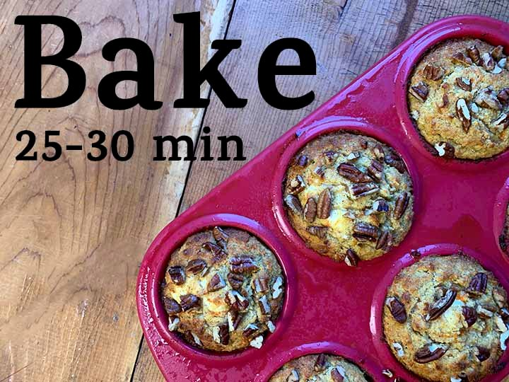 step 9 bake the carrot muffins for 25-30 minutes