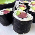 Low Carb Keto Cauliflower Tuna Avocado Sushi Rolls