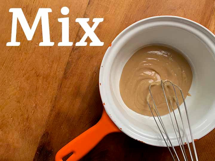 Step 7 Mix up Caramel sauce for Snickers Pie