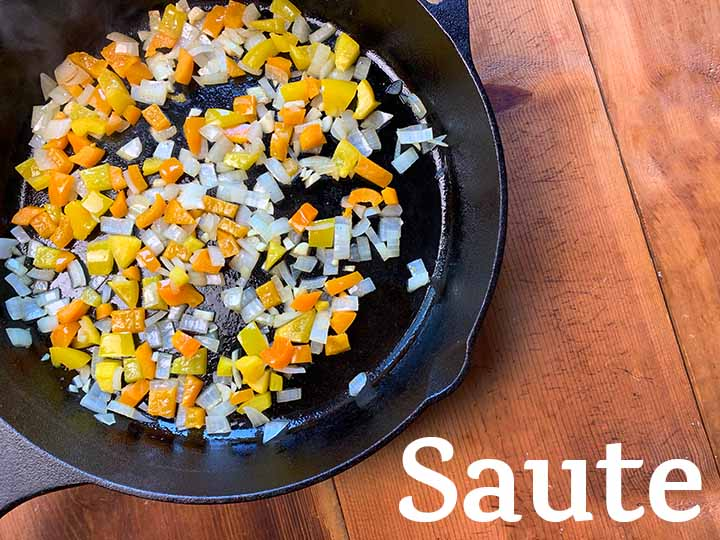 step 1 saute onions, yellow bell pepper and garlic