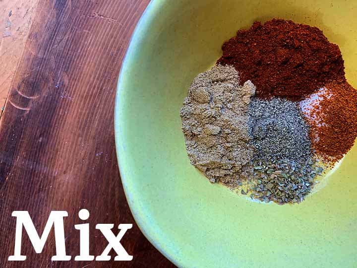 step 3 mix together chili spice
