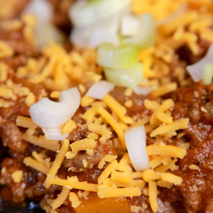 a close up view of Paleo chili con carne