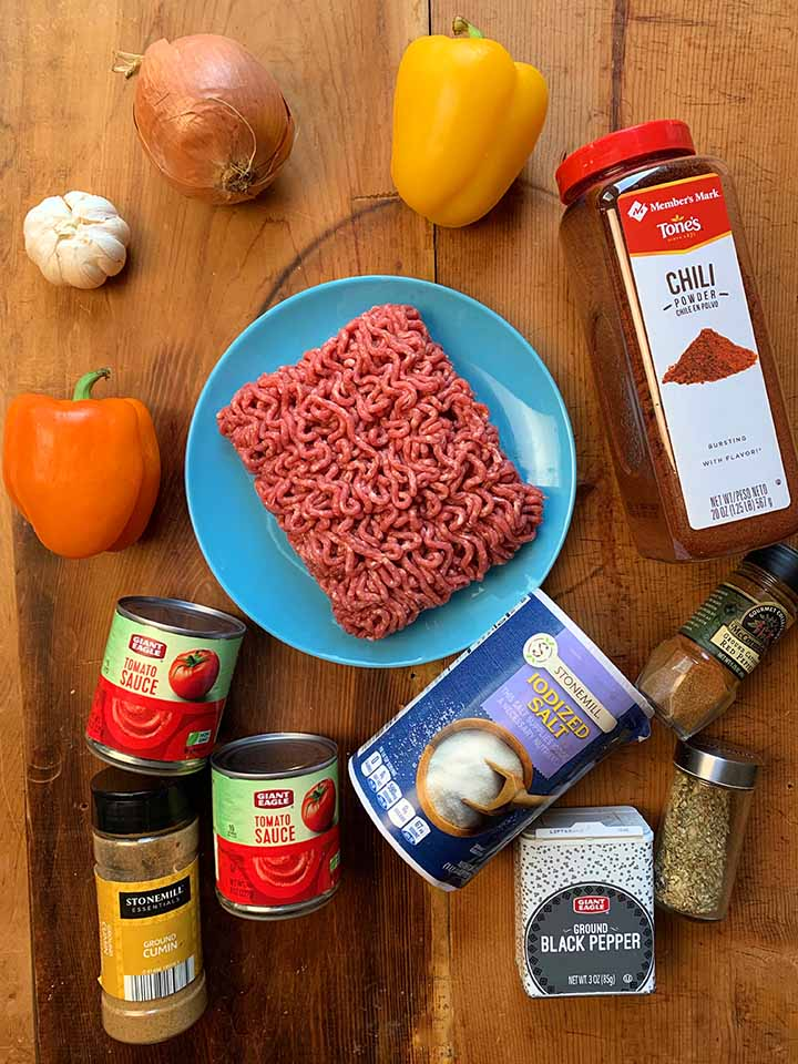 Ingredients for Low Carb Chili recipe