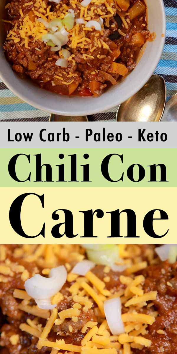 Pinterest pin for low carb chili con carne