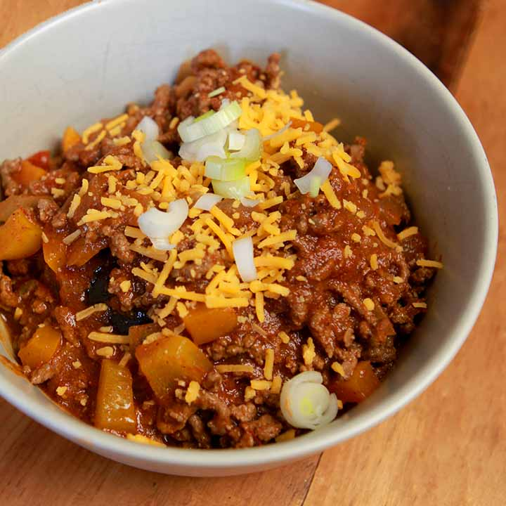 a side view of a bowl of low carb Keto chili