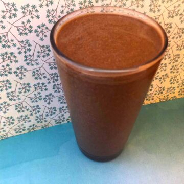 a glass of Keto Chocolate Avocado Shake