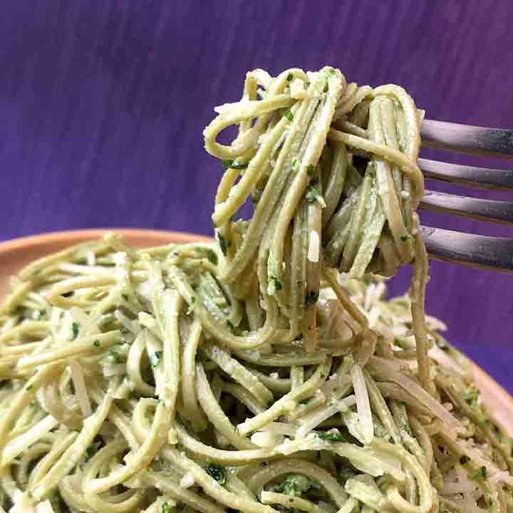 Low Carb Keto Edamame Noodles with Parsley Pesto