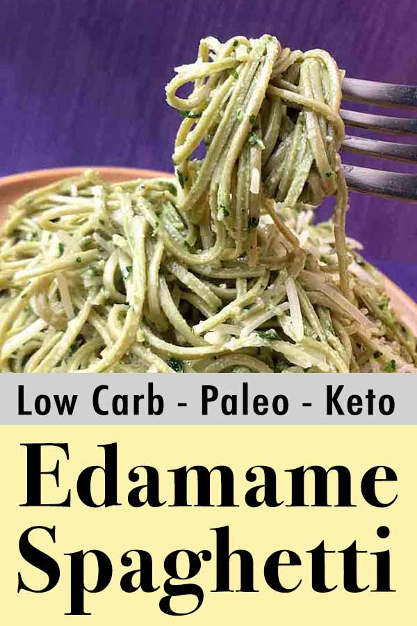Low Carb Keto Edamame Spaghetti with Parsley Pesto Pinterest Pin