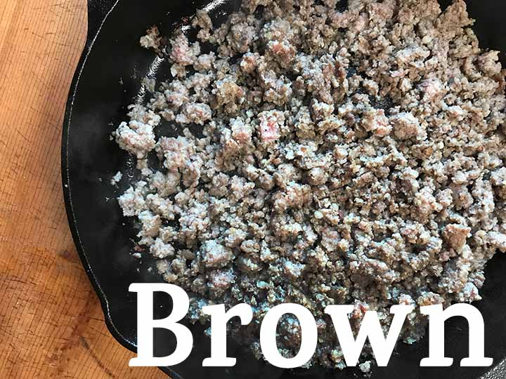 step 2 brown the sausage