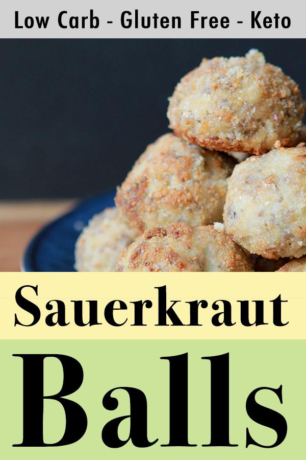 Pinterest pin for low carb Keto sauerkraut and sausage balls