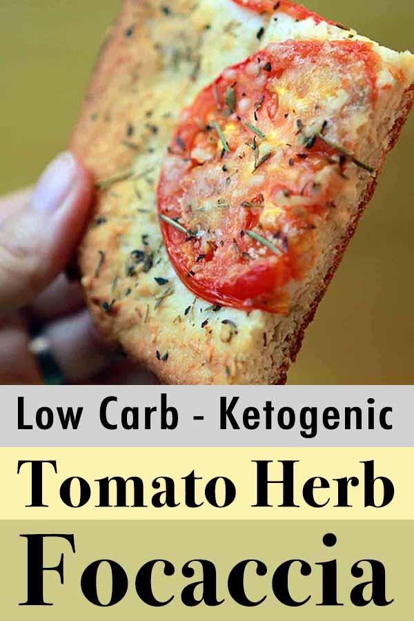 Low Carb Keto Tomato Herb Focaccia Pinterest Pin