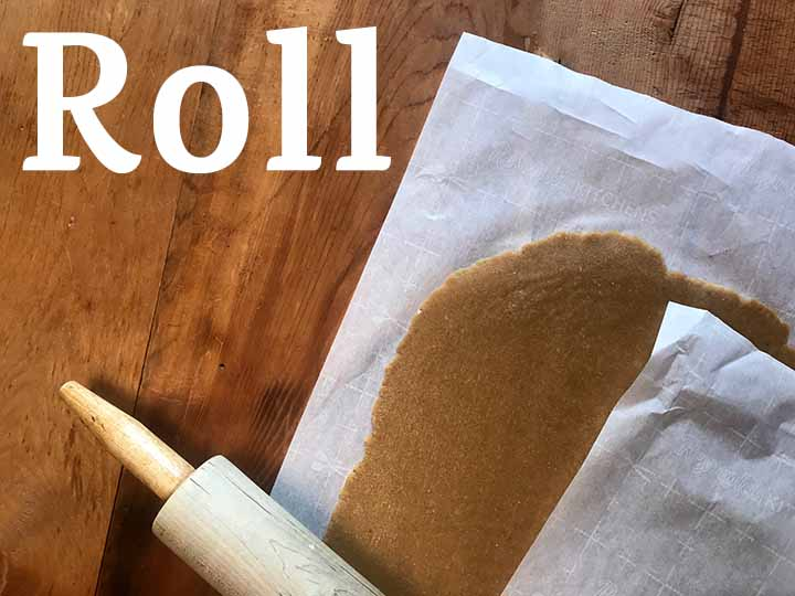 Step 6 Roll out the dough between two sheets of parchmrnt paper until it is ⅛ -¼ inch thick