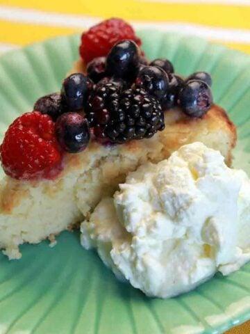 a slice of Keto Berry Shortcake