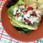 a plate of Keto Ceviche on Lettuce