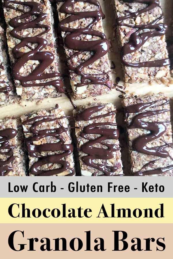 Low Carb Keto Chocolate Almond Granola Bars Pinterest Pin