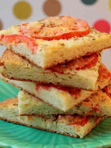 a stack of Keto Tomato Focaccia