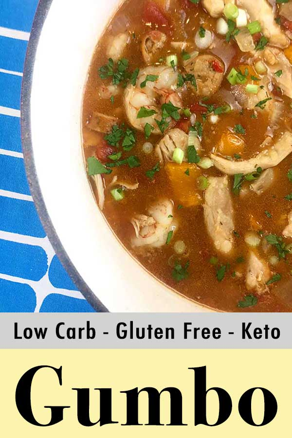 Low Carb Keto Chicken Shrimp and Sausage Gumbo Recipe Pinterest Pin