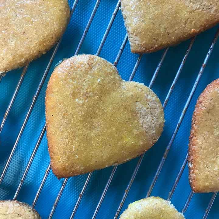 close up of a low carb ginger cookie on a cooling rack
