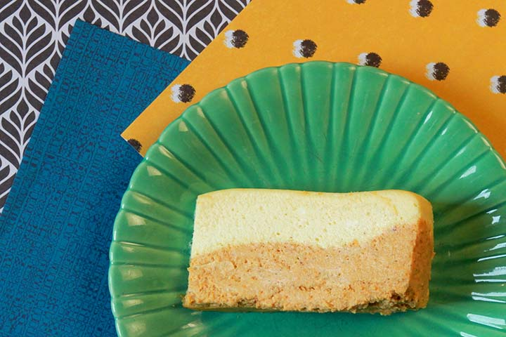 a lice of low carb pumpkin cheesecake against many different patterns