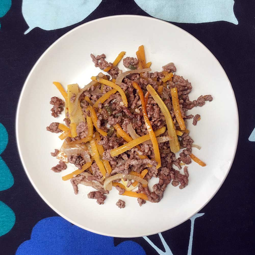 Low Carb Keto Spicy Ground Beef with Squash Noodles