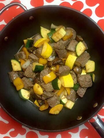 a wok filled with Keto Steak Hibachi