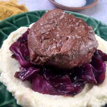 Low Carb Keto Filet Mignon with Braised Red Cabbage and Cauliflower Puree