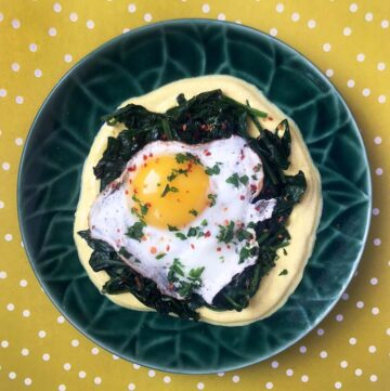 Low Carb Keto Indian Spiced Eggs With Spinach and Turmeric Yogurt