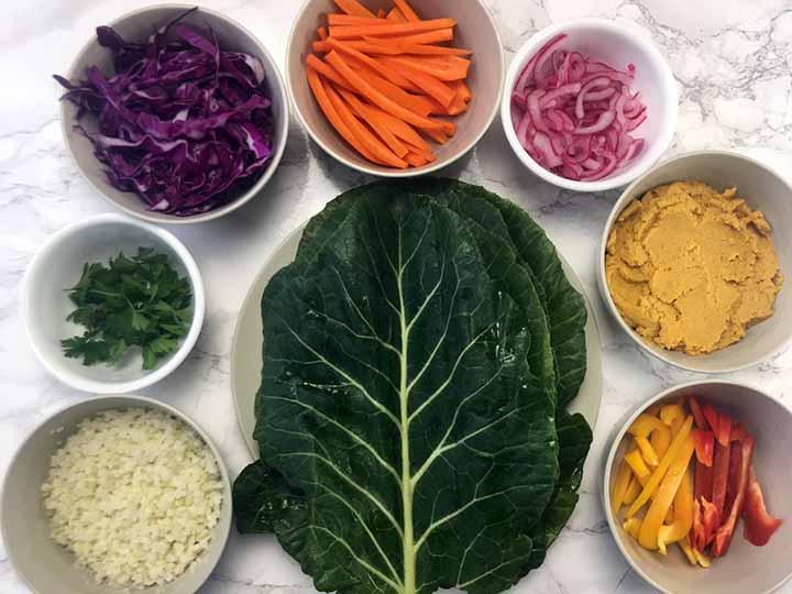 Low Carb Keto Rainbow Veggie Wraps