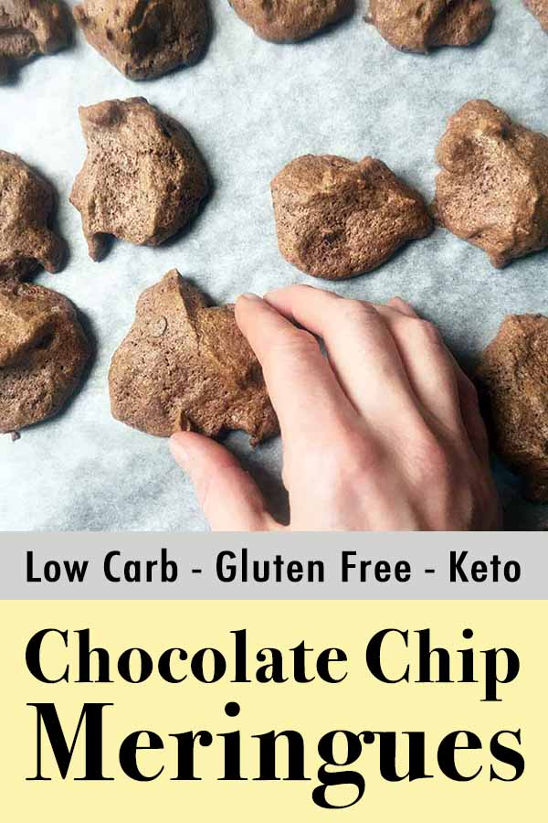 Low Carb Keto Chocolate Chip Meringue Cookies Pinterest Pin