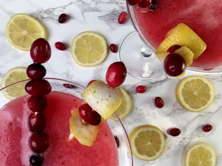 Low Carb Keto Cranberry Lemon Drop Cocktail