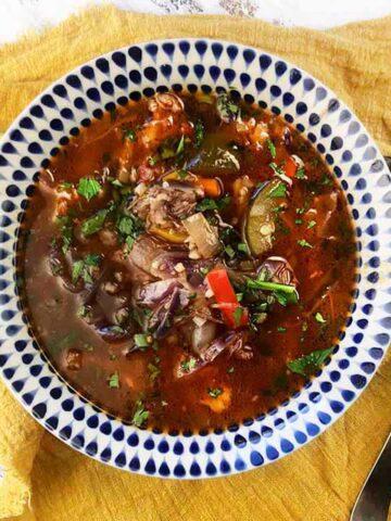 a bowl of Keto Beef Soup