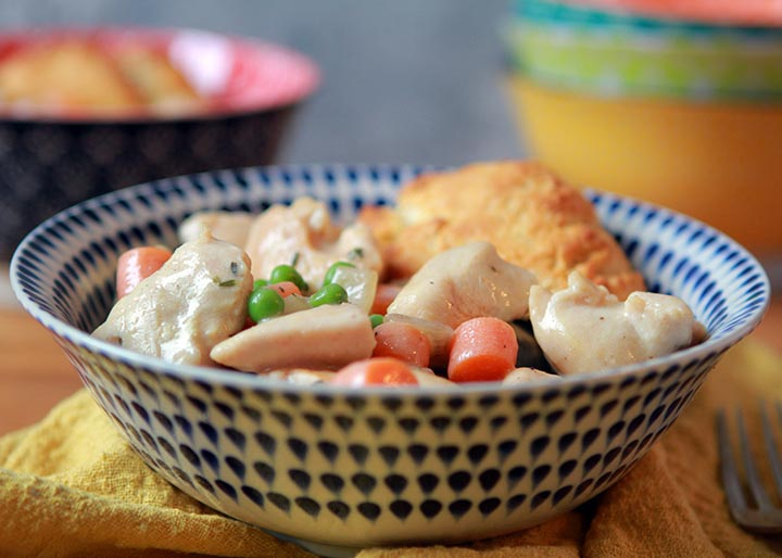 Low Carb Keto Chicken Pot Pie with Biscuit Topping