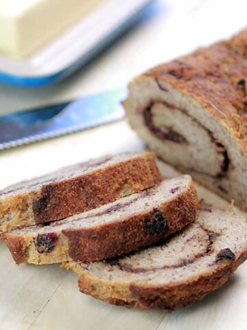 a loaf of Keto Raisin Bread