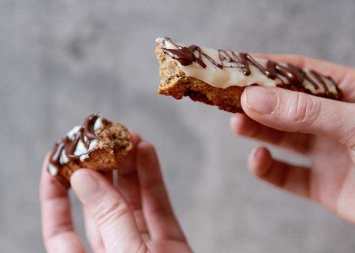 Low Carb Keto Cranberry Biscotti with Coconut and Chocolate Drizzle