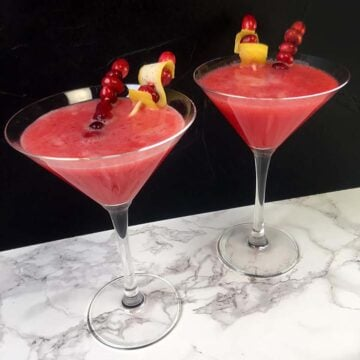 2 glasses of Keto Cranberry Drop Cocktail